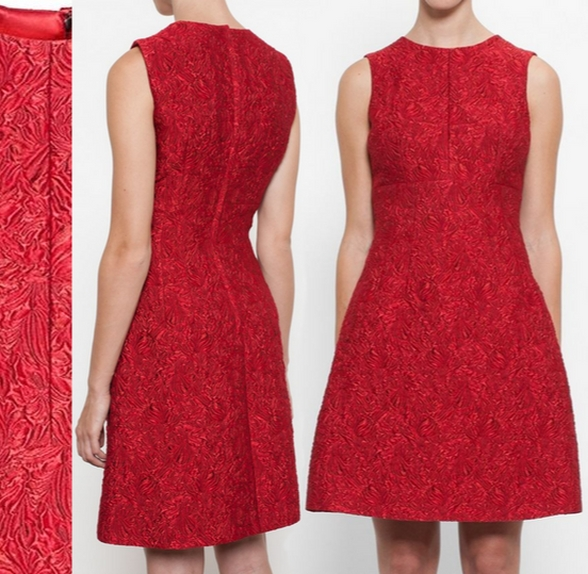 \u0026 Gabbana Red Floral Brocade Dress