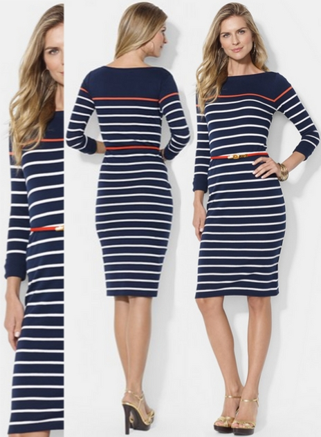 Lauren Ralph Stripe Boat Neck Cotton Dress Striped